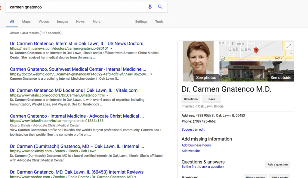 Screenshot of Google search results for Dr. Carmen Gnatenco