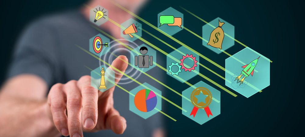 Projection of icons depicting company marketing strategy