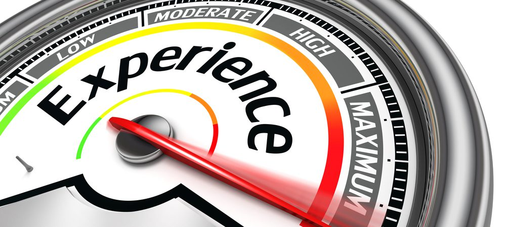 """The word """"experience"""" on a meter going from low to maximum, needle pointing at maximum"""
