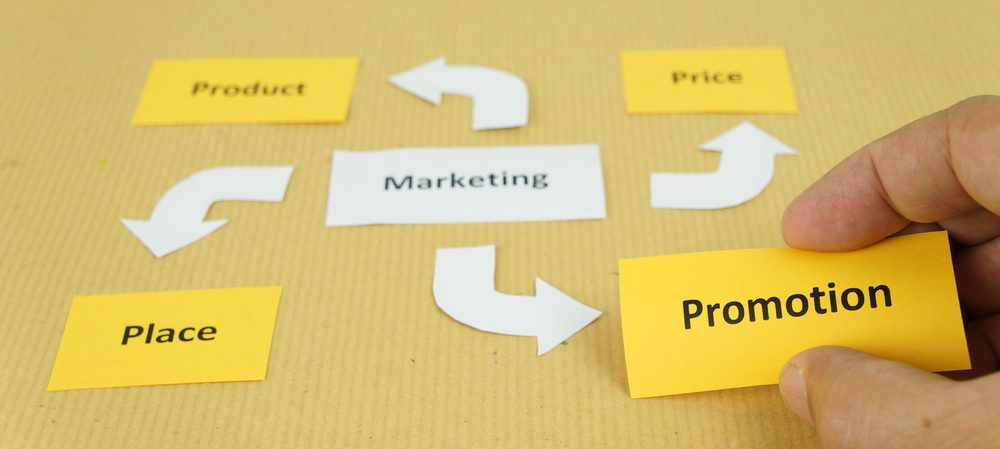 Marketing flow chart showing product, price, place, and promotion
