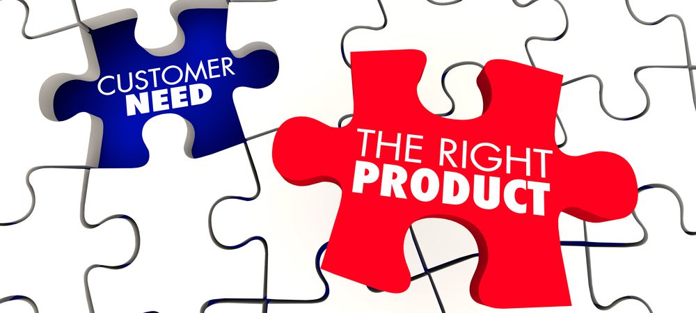 "Puzzle piece labeled ""the right product"" fitting into a space labeled ""customer need"""